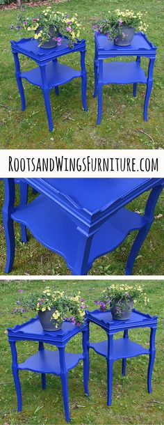 Bright blue side tables painted in General Finishes Klein Blue Milk Paint.  By Jenni of Roots and Wings Furniture.