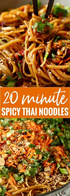 Spicy Thai Noodles | Ready in just 20 minutes, these spicy Thai noodles are made with everyday ingredients and insanely flavorful! This recipe is vegetarian,