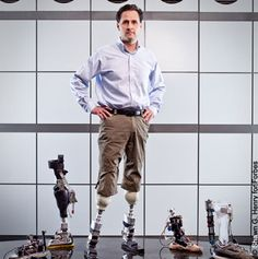Hugh Herr, Director of the Biomechatronics group at MIT's Media Lab.  His goal: to build artificial limbs that are superior to natural ones.