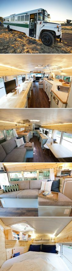 A former school bus transformed into a beautiful home and office on wheels