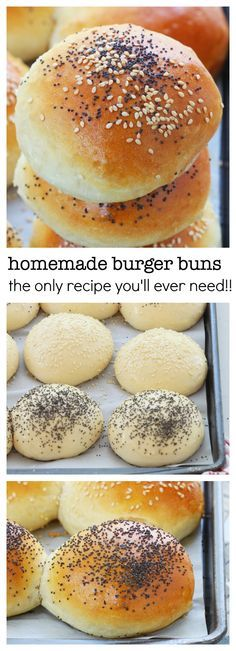 Homemade burger buns recipe with step by step video No fail, easy to make 6 ingredients homemade burger buns with a secret ingredient to keep them soft and fluffy longer. You will never buy burger buns from the store once you try these! Homemade Burger Buns, Homemade Breads, Bread Recipes, Cooking Recipes, Fast Recipes, Sandwich Recipes, Bread Bun, Yeast Bread, Bread Baking