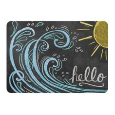 Bring a sense of bright optimistic cheerfulness with the Premium Comfort Wave Hello Color Mat by WeatherGuard. This woven polyester and rubber foam constructed mat features a chalkboard painted design with a sunny ocean wave. Summer Chalkboard Art, Chalkboard Doodles, Chalkboard Art Quotes, Blackboard Art, Chalkboard Writing, Chalkboard Drawings, Chalkboard Lettering, Chalkboard Designs, Chalk Drawings