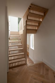 Step House extension built around perforated birch-ply staircase Interior Stair Railing, Staircase Handrail, New Staircase, Bespoke Staircases, Loft Stairs, Birch Ply, London Property, Stair Steps, Ground Floor Plan
