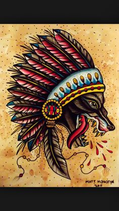 Classic tattoo, indian wolf. Lovely colours