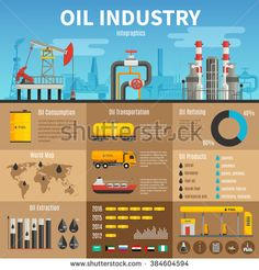 Oil industry vector infographics with extraction transportation and consumption statistics products of refining information and petrol station illustration - stock vector