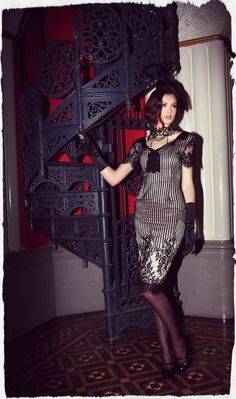 St. Germain Collar Wiggle Dress: love the dress but how elegant and beautiful is that vintage spiral staircase. ?!  So very French and chic ♥