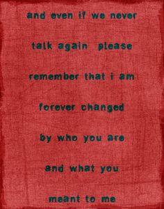 if we never talk again...