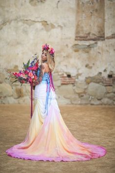 This is incredible! Beautiful hand painted pastel rainbow wedding dress by Jessica Cruz, holding Four Leaf Clover Studio bridal bouquet. Pastel Wedding Dresses, Rainbow Wedding Dress, Wedding Colors, Wedding Gowns, Flower Girl Dresses, Ombre Wedding Dress, Cream Color Wedding Dress, Quirky Wedding Dress, Rainbow Bouquet