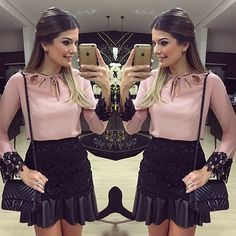 Fridaaay!! Camisa e saia hoje by @banana.lima 💗💗   #lookdanoite #lookofthenight #ootn #selfie #blogtrendalert