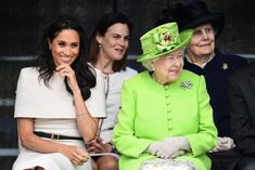 Meghan Duchess of Sussex and Queen Elizabeth II attend a ceremony to open the new Mersey Gateway Bridge on June 14 2018 in Widnes England Meghan. Meghan Markle, Princess Meghan, Prince Harry And Meghan, Royal Wedding Outfits, Royal Engagement, Wedding Beauty, Queen Elizabeth Ii, Duke And Duchess, Body