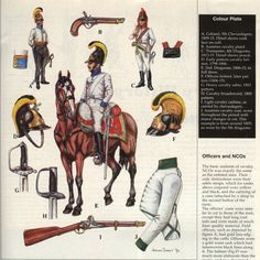 Austrian Chevau-Leger & Dragoons, 1806-15.  Central figure is a Dragoon.  Click on image to make VERY LARGE.