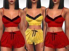 Female Sleeping Ruffle Short Outfits Found in TSR Category 'Sims 4 Female Sleepwear' Sims 4 Mods Clothes, Sims 4 Cc Kids Clothing, Sims Mods, Toddler Cc Sims 4, Sims 4 Teen, Sims Cc, Cute Sleepwear, Girls Sleepwear, Sims4 Clothes