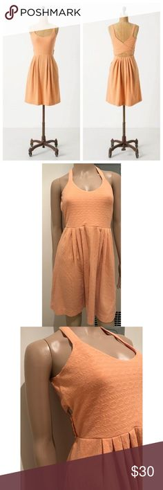 """EUC Anthro9-H15 STCL Jacquard Rolo Crossback Dress Perfect spring peach orange color dress from Anthropologie in size medium. Tie your look together with this open-back jacquard frock, striped with rope and chain links.  Pullover styling Cotton, polyester, spandex; rayon lined bodice Measure about 36"""" length, 13"""" waist, 15"""" pit to pit. Lots of stretch, back have an elastic stretch to it. No major flaws. ❌Last pic of model is the same style but different color and is for visual aid only❌No…"""