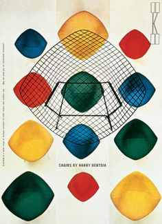 KNOLL HARRY BERTOIA CHAIRS VINTAGE REPRINT POSTER PRINT US $29.99