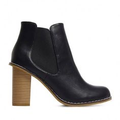 Yoins Leather-look Elastic Heeled Ankle Boots ($53) ❤ liked on Polyvore featuring shoes, boots, ankle booties, ankle boots, yoins, heels, black, heeled booties, black ankle booties and black booties