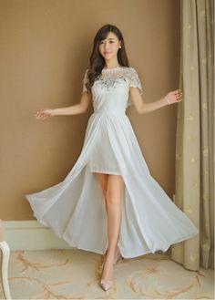 #ชุดเดรสออกงาน ผ้าคอตตอนผสม สีขาว ผ้านิ่มยืดหยุ่นได้ดี