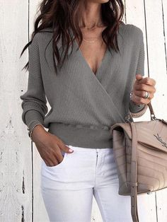 Style : Casual, Comfy Sleeve Length : Long Sleeve Silhouette: Relaxed fit Neckline/Collar : V-Neck Pattern Type : Solid Material : Polyester Mode Outfits, Fashion Outfits, Fashion Trends, Fashion Ideas, School Outfits, Fashion Clothes, Girl Outfits, Blouses For Women, Sweaters For Women