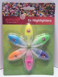Emoji 6x Mini Textmarker - Gelb Grün Blau Lila Orange Pink - Diesen und weitere Artikel finden Sie bei Marias-Einkaufsparadies.de! - (www.marias-einkaufsparadies.de) -