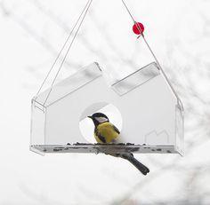 MOCAK Modern Bird Feeder. Ispired by MOCAK (Museum of Contemporary Art in Krakow) architecure. New bird feeder by Jolanta Uczarczyk.