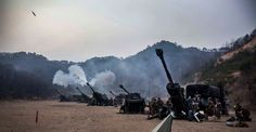 Steel Rain. U.S. Marines with 31st Marine Expeditionary Unit fire M777A2 lightweight 155 mm howitzers