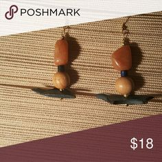 Bohemian Drop Earrings Brand New Item.  (DESIGNER KIMBERLY HERRING) Choose these handcrafted cuties to compliment your attire. Very elegantly created with amber stones and wood elements. Light on the ears. Hypoallergenic ear hooks. Jewelry Earrings