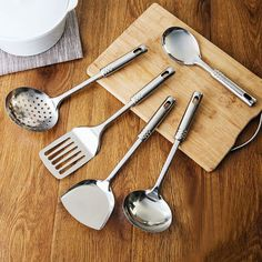 5 Piece Stainless Steel Kitchen Utensil Set Serving Spoons Spatula Cooking Tools #ad