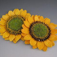 Golden Yellow Sunflower Felt Brooch by fiberartandadornment