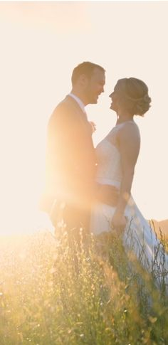 Bride and groom in each others arms at sunset in a field in summer Wedding Events, Our Wedding, Perfect Eyes, Wedding Story, Videography, Professional Photographer, Wedding Pictures, How To Memorize Things, Groom