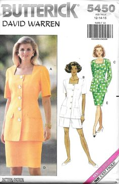 Butterick 5450 David Warren Square Neck Front Button top, Straight Skirt And Shorts Sewing Pattern, Size 12-16, UNCUT by DawnsDesignBoutique on Etsy