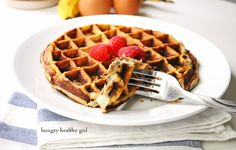 Only four ingredients to this scrumptious waffle! (gluten-free, Paleo, low-calorie, high-protein, dairy-free)