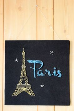Paris Eiffel Tower String Art by EverySeasonBySaraMae Cute Crafts, Diy And Crafts, Arts And Crafts, Arte Linear, Nail String Art, String Art Patterns, Thread Art, Pin Art, Button Crafts