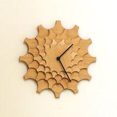 cogwheel - handmade modern wooden wall clock reloj de pared de madera, деревянные часы стены, orologio da parete in legno, Holz-Wanduhr, 木製の壁時計, in stock: $61