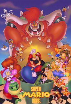 Super Mario Bros - Don Bluth Style Super Mario Bros, Super Mario Games, Super Mario Brothers, Super Smash Bros, Mario Party 7, Super Movie, Estilo Disney, Pokemon, Video Game Art