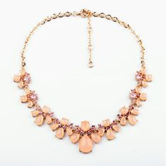 Pretty Light Salmon Artificial Gemstone Chain Necklace - View All - New In