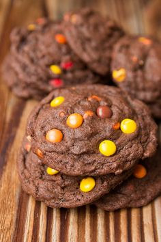 I can't eat these fast enough! Chocolate Reese's Pieces Cookies ohsweetbasil.com