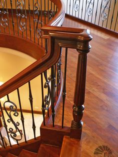 Cool Brazilian Cherry Stairs Also Brown Laminate Floor And Curly Railing  Trellises And Beige Wall