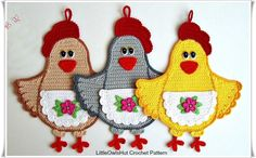 ╭✿✿╯Aplique de Crochê Galinha  -  /  ╭✿✿╯Apply Crochet  Chicken -