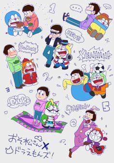 おそ松さん Osomatsu-san x Doraemon Anime Crossover, Best Crossover, Anime Fnaf, Anime Art, Anime Cherry Blossom, Otaku, Anime Flower, Doraemon Wallpapers, Comedy Anime