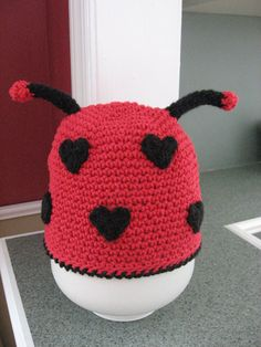 Valentines Day Lil Love Bug Lady Bug Hat by nutsaboutknitting