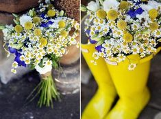 A cobalt blue and yellow bouquet with button mums and daisies in bright Wellies for a boho wedding.