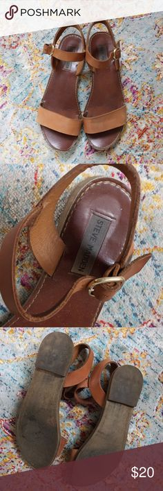 Steve Madden Brown Strappy Flat Sandals Steve Madden. Size 7.5. Definitely worn (but still in good condition) but that is reflected in the low price. Steve Madden Shoes Sandals