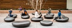 888 Brannan building in San Francisco, California. Stones created from real stones the size of dollar coins. Using 3D technology these stones were transformed into bold outdoor seating [Meyer + Silberberg Land Architects]
