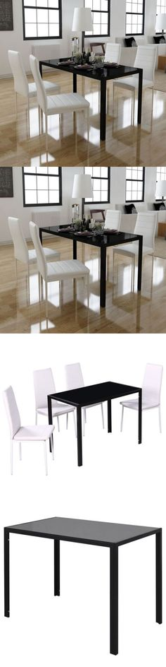 furniture: Dining Table And Chairs Set Black Glass Top W/ 4 White Artificial Leather Seats BUY IT NOW ONLY: $136.99