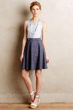 (R): It's simple. It's flowy. It's casual. - Denim Sailor Skirt - anthropologie.com