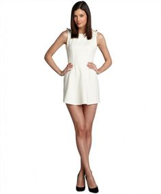 Romeo & Juliet Couture ivory knit epaulet detail a-line dress on WearsPress