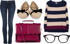 kailah by peppahwood featuring bow flats  Joie pink top / Koral blue skinny jeans, $290 / Melissa bow flat, $63 / ASOS satchel bag, $49 / Ol...