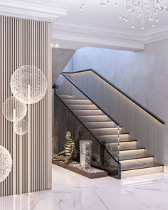 Apartment in Baku_A on Behance Staircase Interior Design, Luxury Staircase, Home Stairs Design, Home Building Design, Railing Design, Home Room Design, Dream Home Design, Modern House Design, Home Interior Design