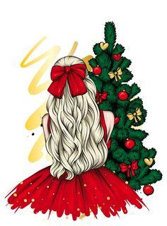 Merry Christmas, Christmas Mood, Christmas Fashion, Christmas Presents, Christmas Ideas, Illustration Noel, Christmas Illustration, Girly Drawings, Art Drawings Sketches