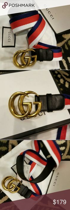 ❤Authentic Gucci Belt White Red Blue Brass Buckle ❤Brand New Gucci Belt White Red Blue Fabric Stripes with Black Leather & Gold Brass Buckle. Nice! Comes with tags, box and dust bag. Easy sizing done for you below. Fast 24hr Shipping! Gucci Accessories Belts