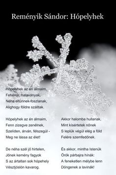 Reményik Sándor: Hópelyhek Winter Time, Holidays And Events, Advent, Literature, Xmas, Christmas, Poems, Texts, Quotation